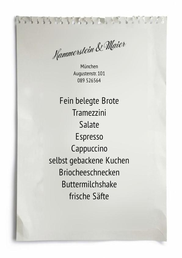 Handzettel Hammerstein & Maier in der Münchner Augustenstr. 101
